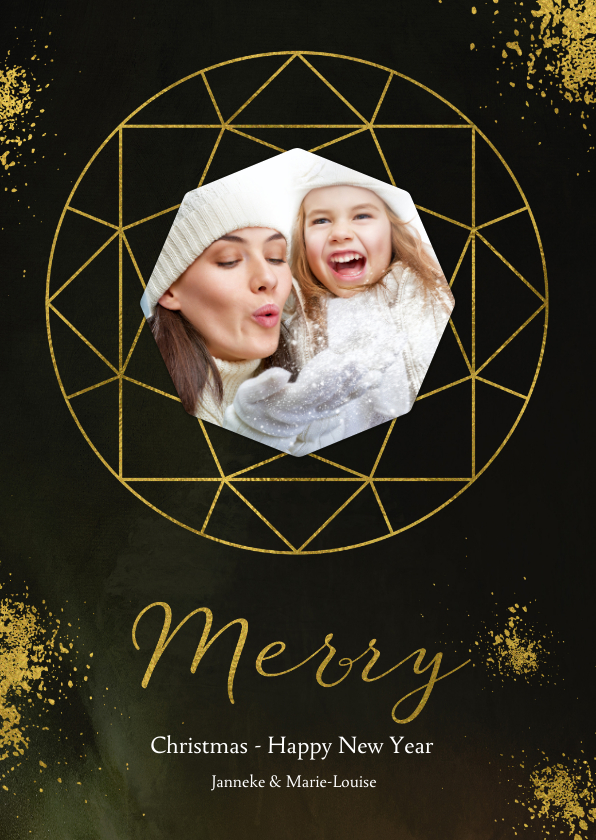 Kerstkaarten - Kerstkaart diamantvorm goud en goudspetters met eigen foto