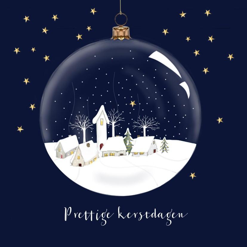 Kerstkaarten - Kerstkaart - dorpje in kerstbal
