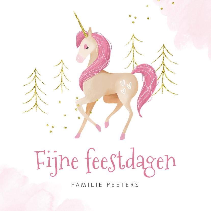 Kerstkaarten - Kerstkaart eenhoorn unicorn waterverf goud roze