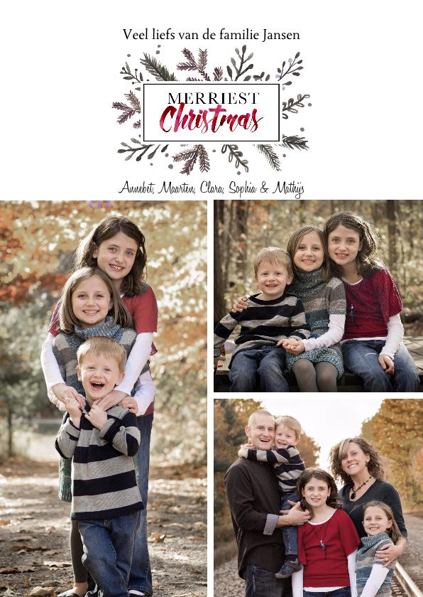 Kerstkaarten - Kerstkaart Elegant Collage Kerst Takjes