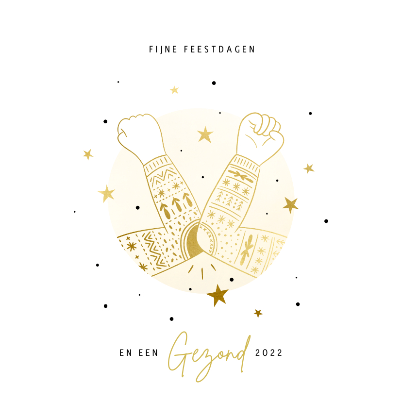 Kerstkaarten - Kerstkaart ellebooggroet goudlook foute kersttrui sterren