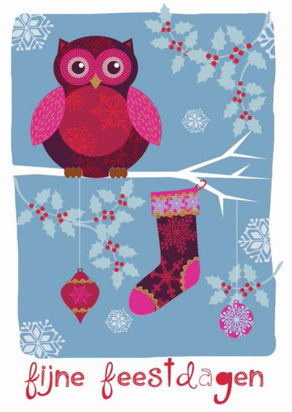 Kerstkaarten - Kerstkaart feestdagen kaart met uil op een tak