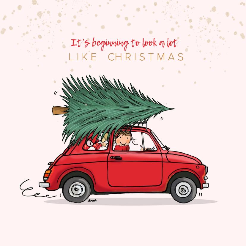 Kerstkaarten - Kerstkaart Fiat 500 rood
