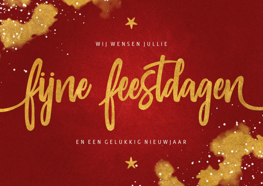 Kerstkaarten - Kerstkaart Fijne Feestdagen rood met goud