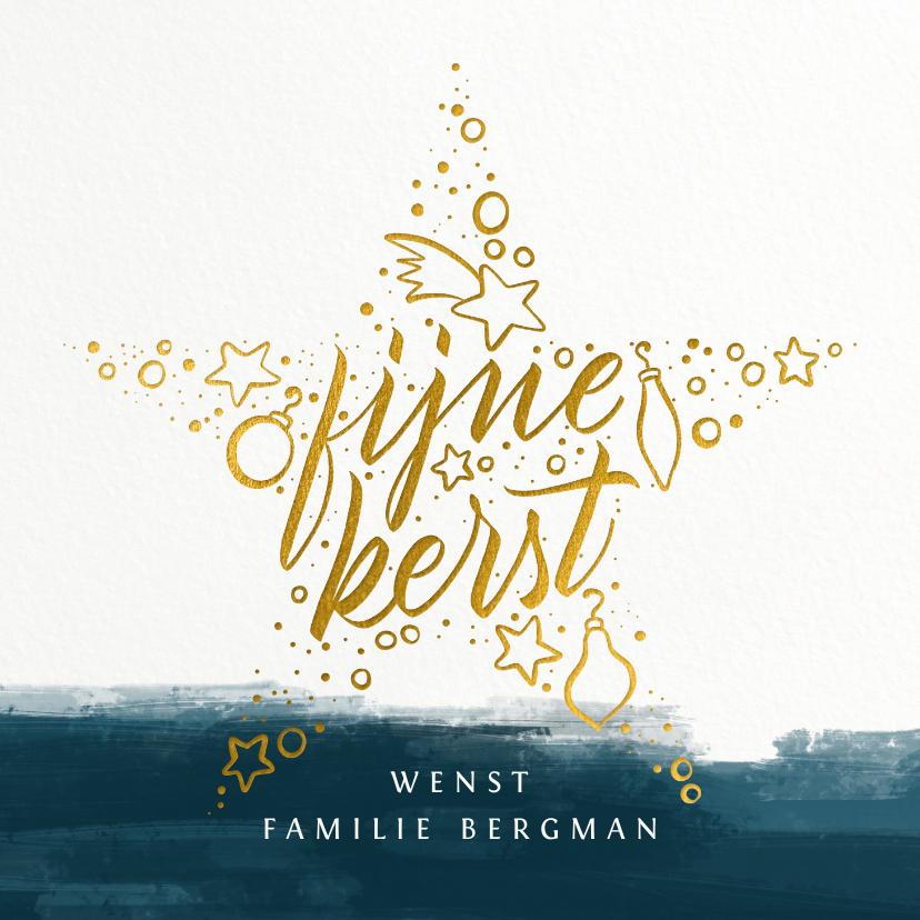 Kerstkaarten - Kerstkaart Fijne Kerst goudlook & handlettering