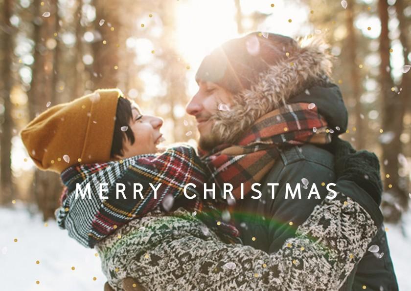 Kerstkaarten - Kerstkaart foto-effect van sneeuw en goudstipjes