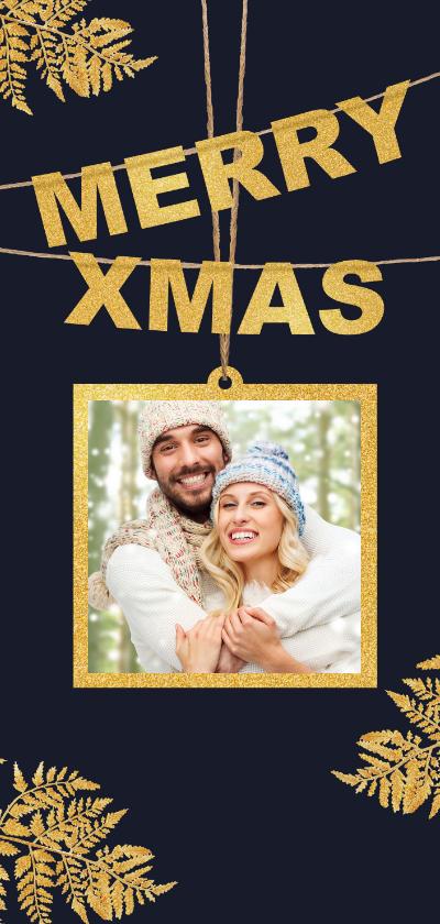 Kerstkaarten - Kerstkaart foto en gouden Xmas