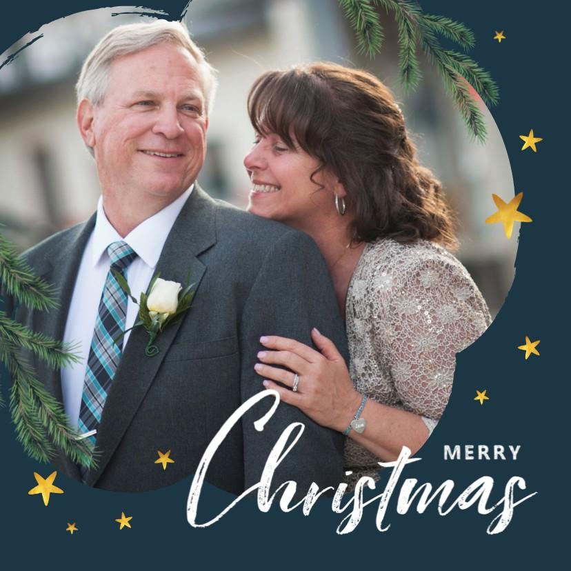 Kerstkaarten - Kerstkaart foto goud sterren kerst