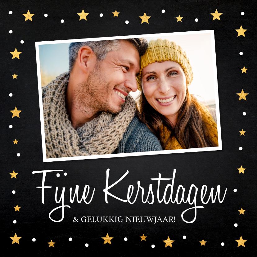 Kerstkaarten - Kerstkaart foto gouden confetti vierkant