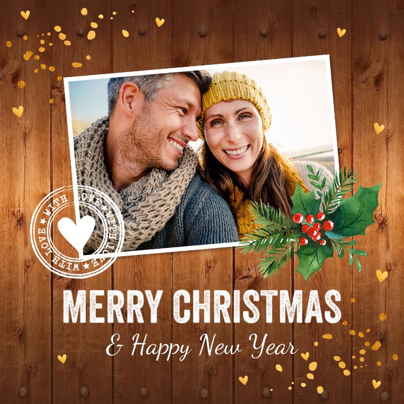 Kerstkaarten - Kerstkaart foto hout kerstkrans confetti goud
