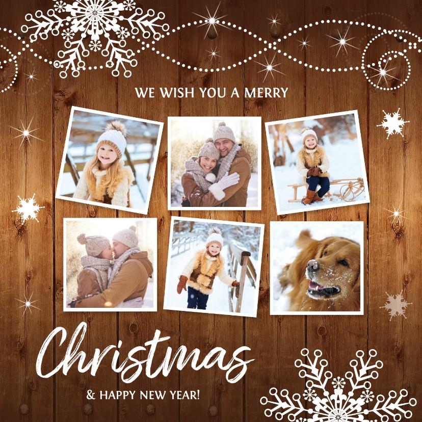 Kerstkaarten - Kerstkaart foto hout sneeuwvlokken