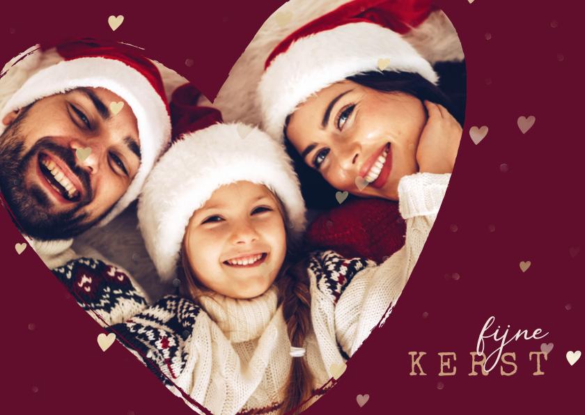 Kerstkaarten - Kerstkaart foto in hart groot met gouden hartjes
