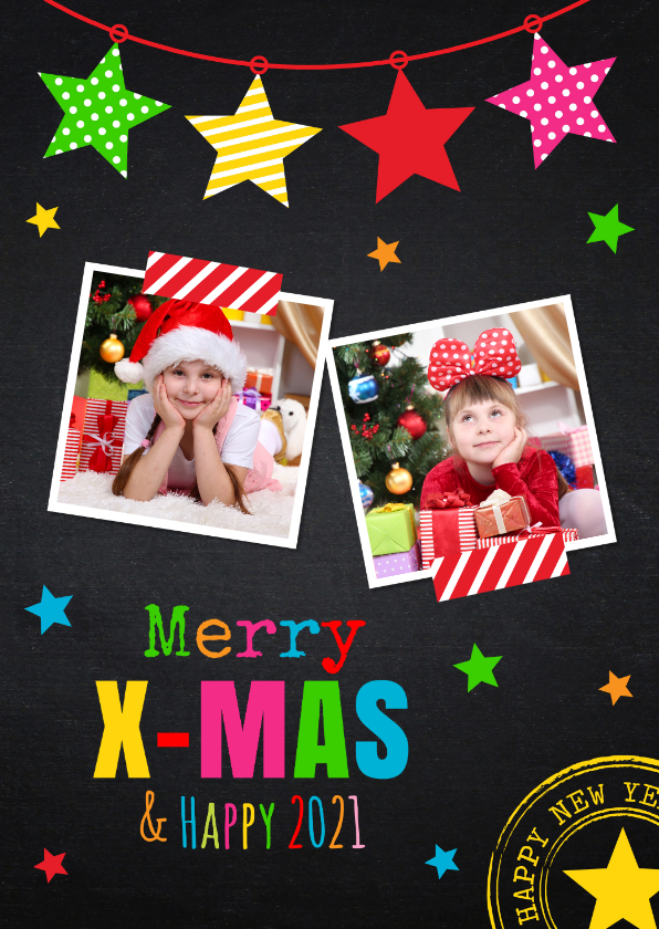 Kerstkaarten - Kerstkaart foto kleur krijtbord
