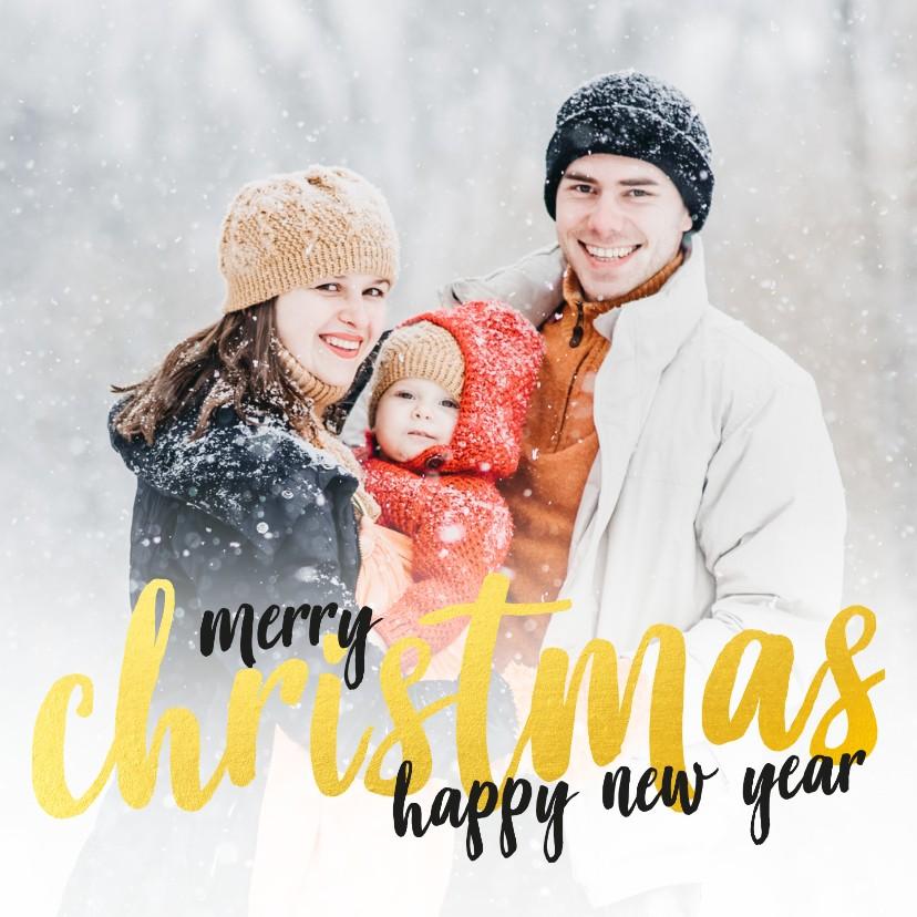 Kerstkaarten - Kerstkaart - foto met gouden letters - merry christmas