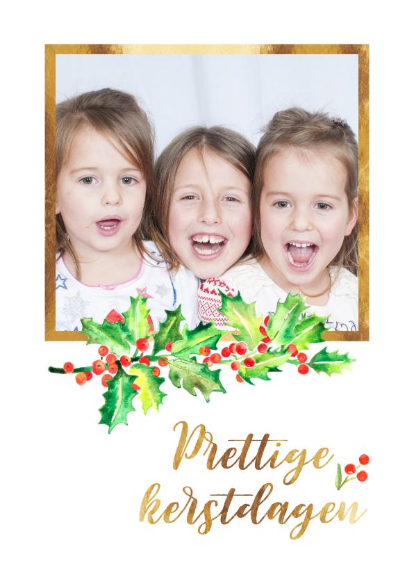 Kerstkaarten - Kerstkaart foto met goudkader