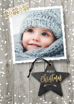 Kerstkaarten - Kerstkaart foto met sneeuw