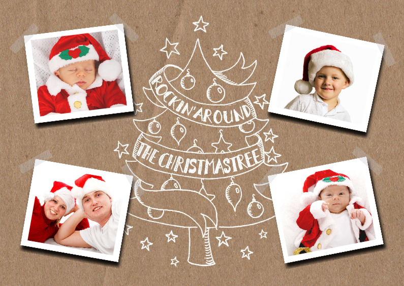 Kerstkaarten - Kerstkaart foto's kerstboom handlettering