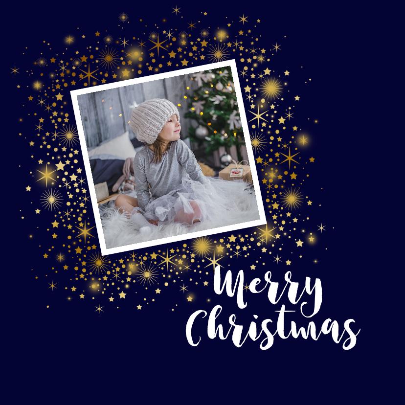 Kerstkaarten - Kerstkaart foto sterren goud glitterlook