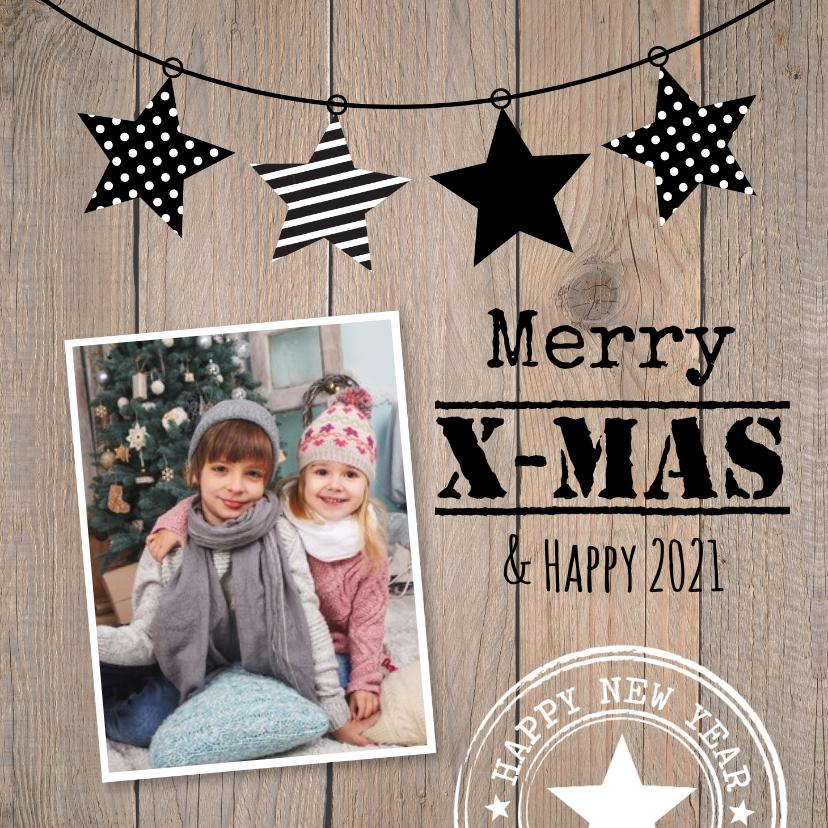Kerstkaarten - Kerstkaart foto sterren hout