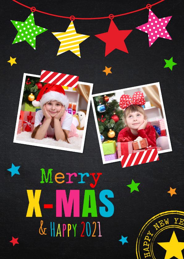 Kerstkaarten - Kerstkaart foto sterren kleur krijtbord