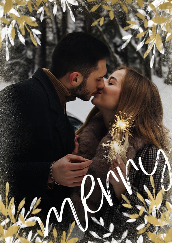 Kerstkaarten - Kerstkaart foto stijlvol merry met gouden en witte takken