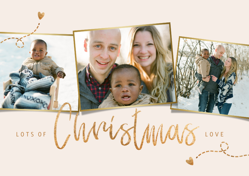 Kerstkaarten - Kerstkaart fotocollage christmas love