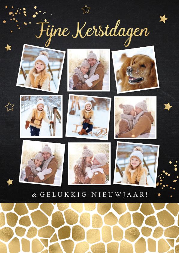 Kerstkaarten - Kerstkaart fotocollage confetti goud krijtbord