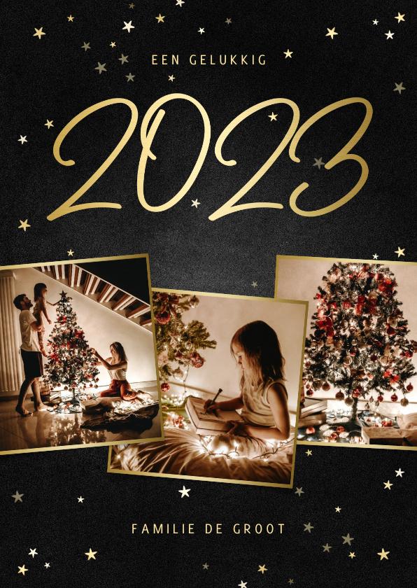 Kerstkaarten - Kerstkaart fotocollage handgeschreven 2022 krijtbord