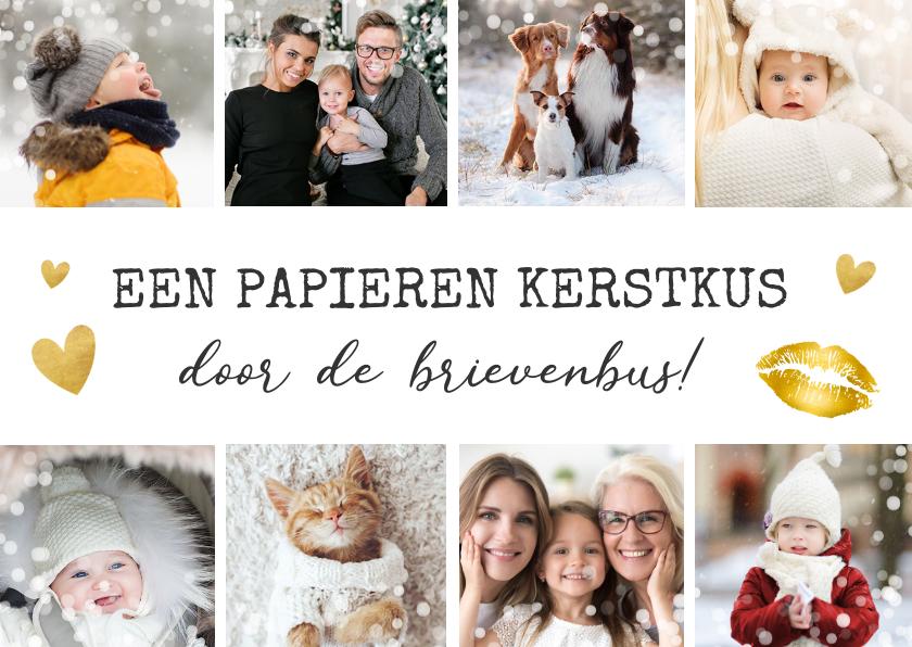 Kerstkaarten - Kerstkaart fotocollage kerstkus met 8 eigen foto's