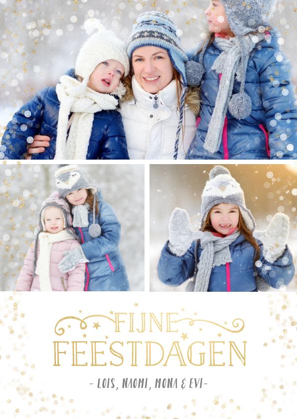Kerstkaarten - Kerstkaart fotocollage met 3 foto's en confetti