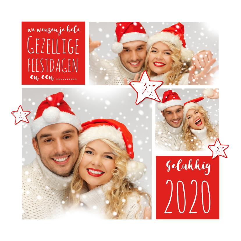 Kerstkaarten - Kerstkaart fotocollage rood 2020