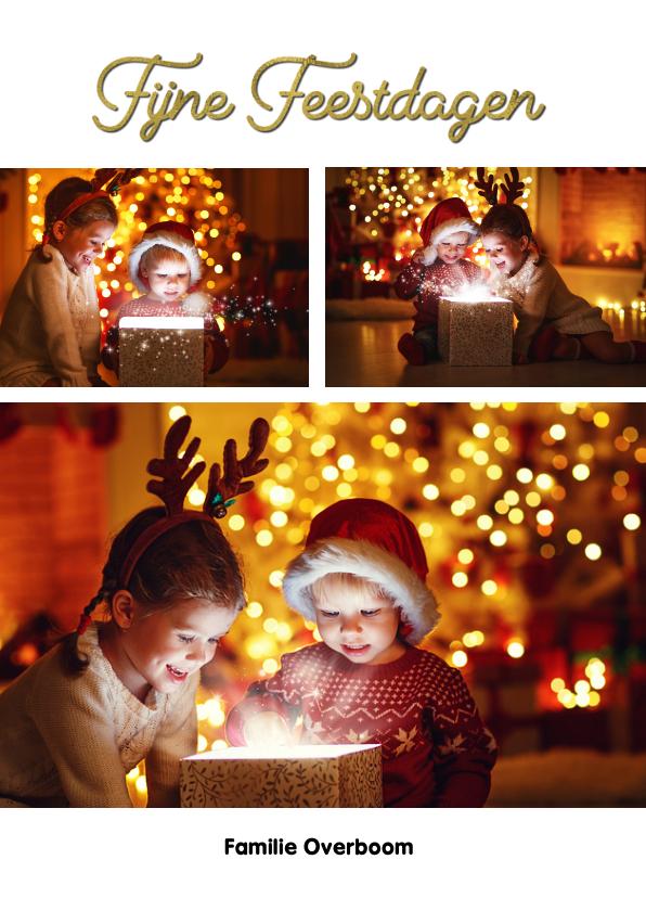 Kerstkaarten - Kerstkaart fotocollage staand wit