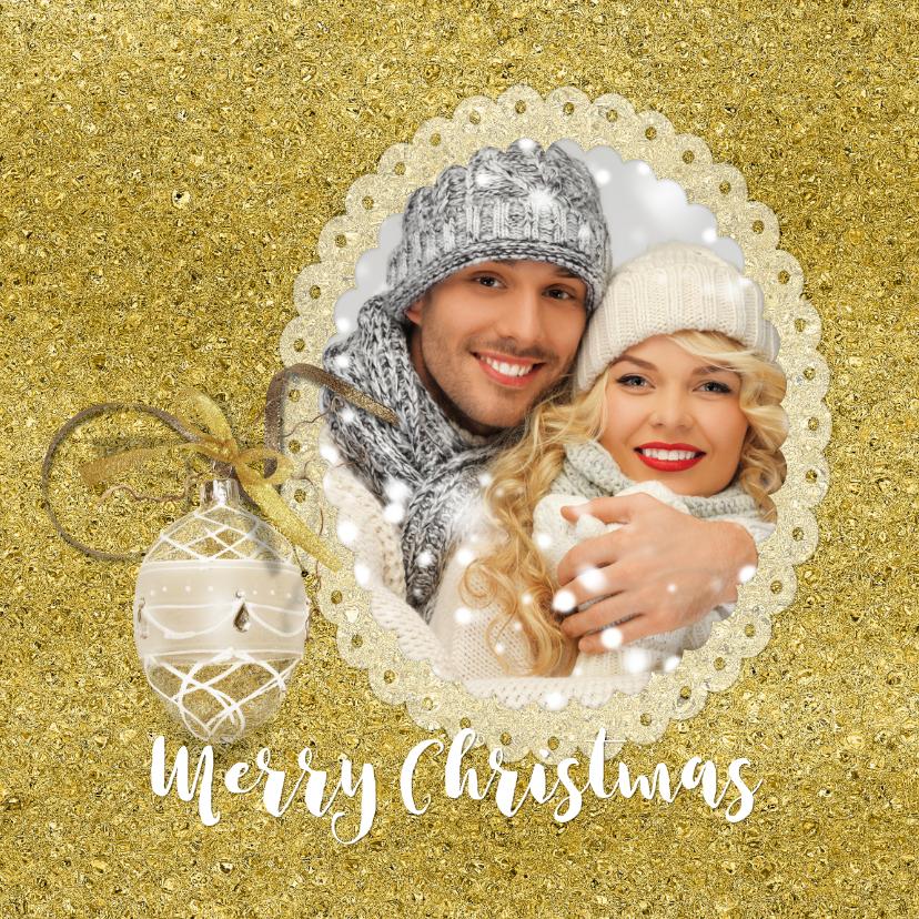 Kerstkaarten - Kerstkaart fotolijst in goudtinten