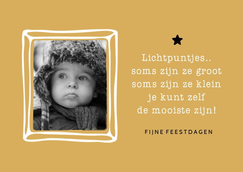 Kerstkaarten - Kerstkaart fotolijstje quote lichtpuntjes