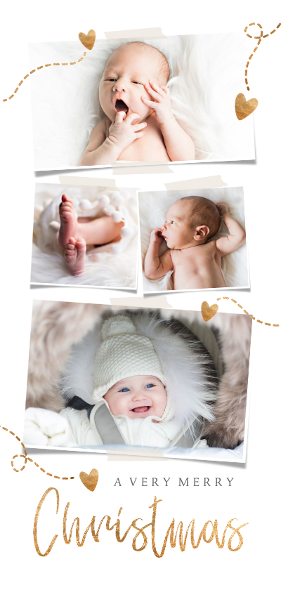 Kerstkaarten - Kerstkaart Foto's en gouden hartjes
