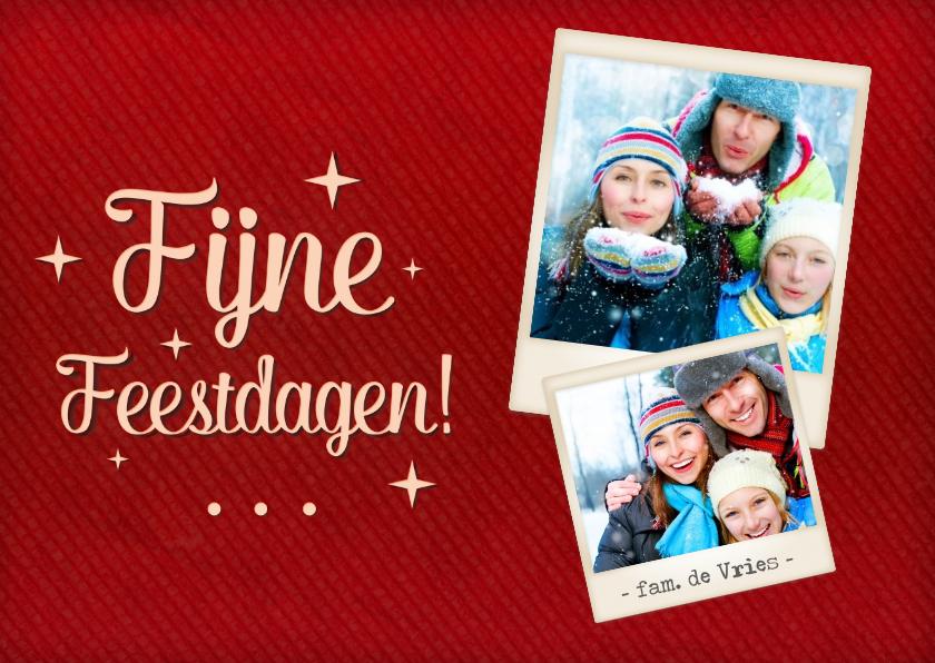 Kerstkaarten - Kerstkaart foto's rood polaroid