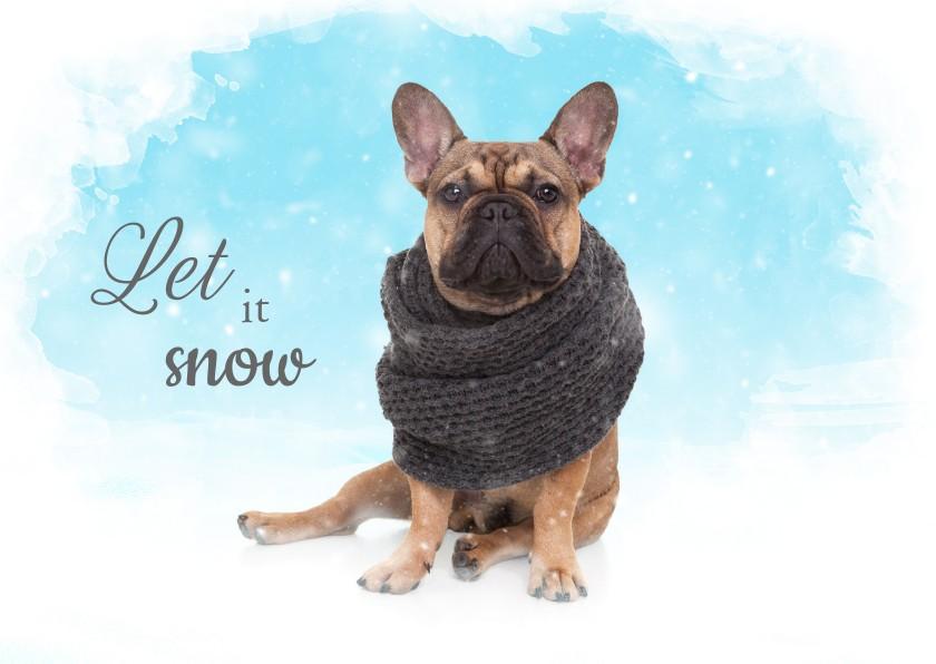 Kerstkaarten - Kerstkaart - Franse Bulldog in de sneeuw