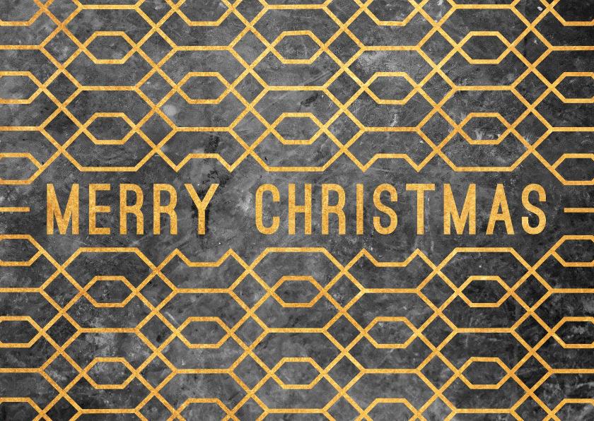 Kerstkaarten - Kerstkaart geometrisch met beton en goudlook