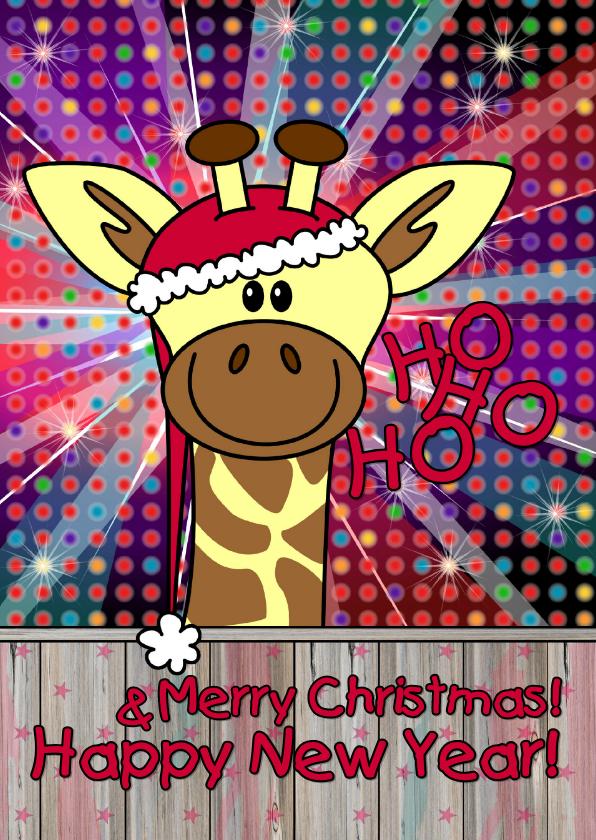 Kerstkaarten - Kerstkaart giraffe disco