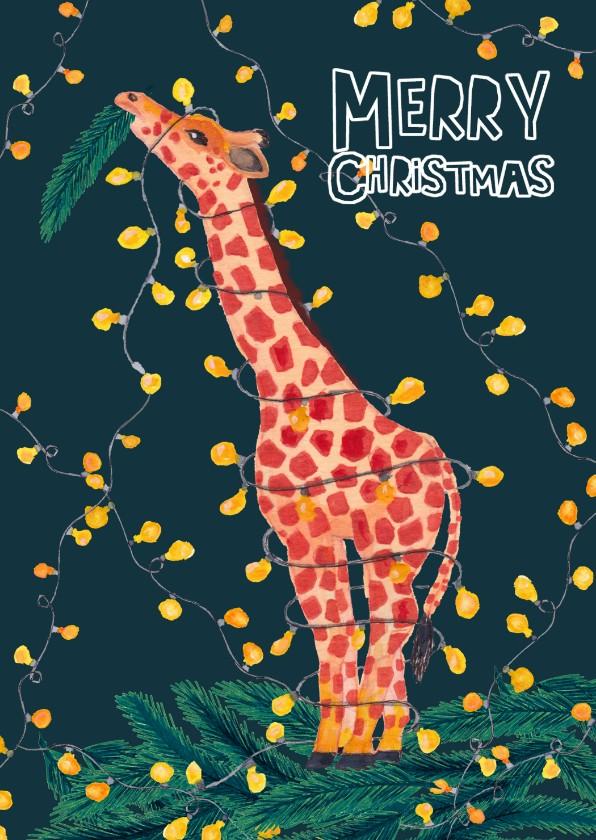 Kerstkaarten - Kerstkaart giraffe met lichtjes