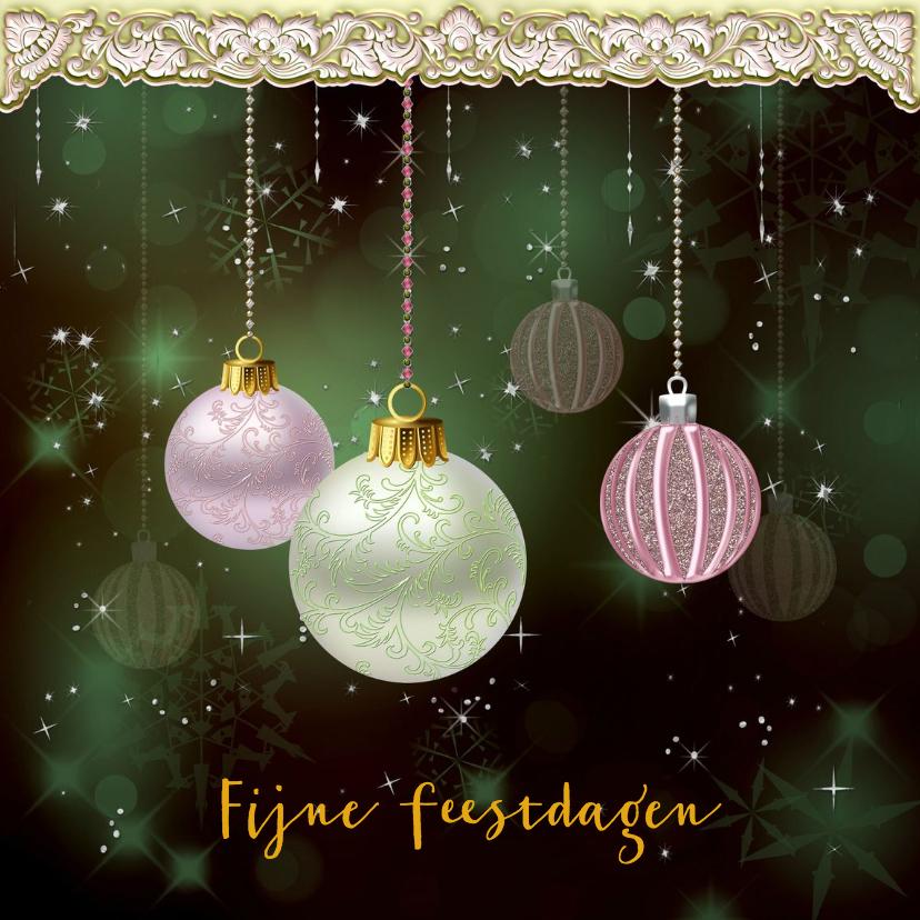 Kerstkaarten - Kerstkaart glitters en ballen