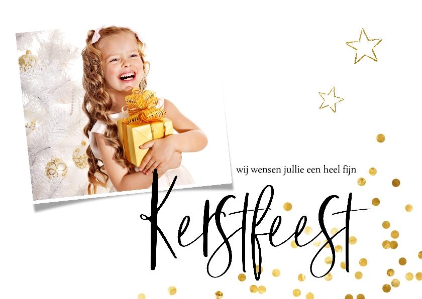 Kerstkaarten - Kerstkaart goud confetti en eigen foto