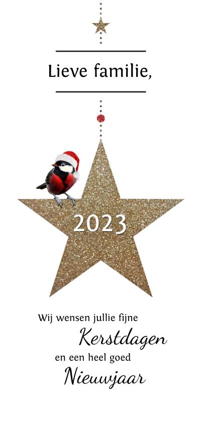 Kerstkaarten - Kerstkaart gouden glitter ster met koolmeesje