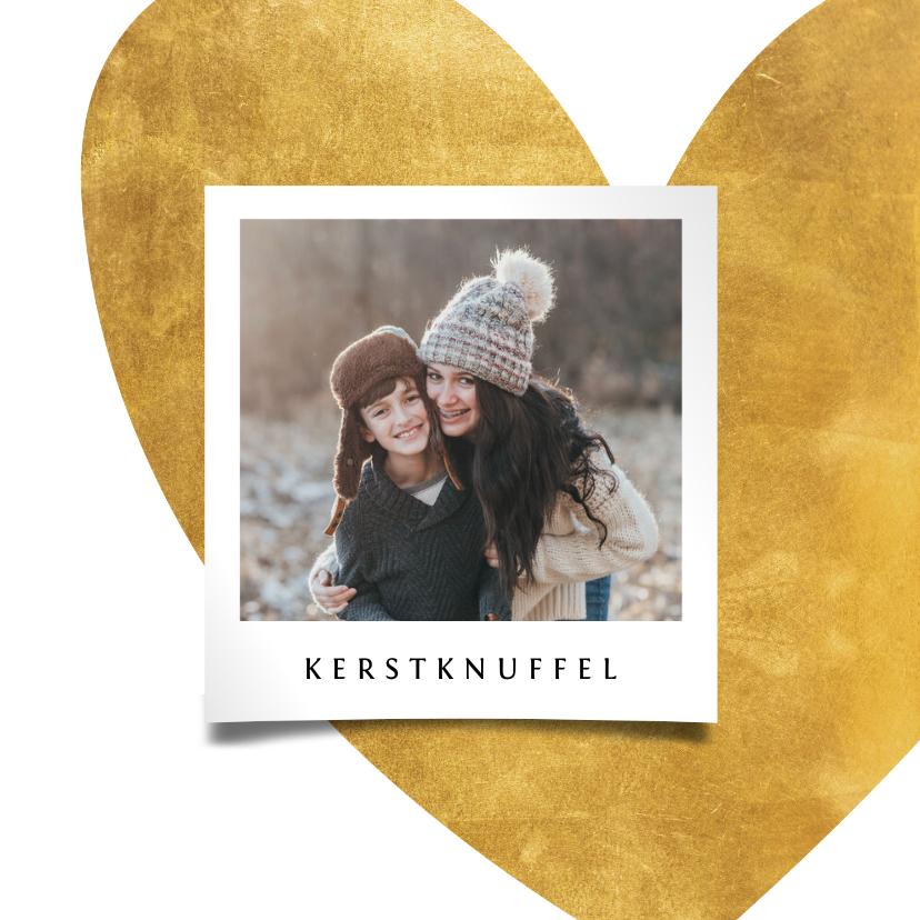 Kerstkaarten - Kerstkaart gouden hart met foto