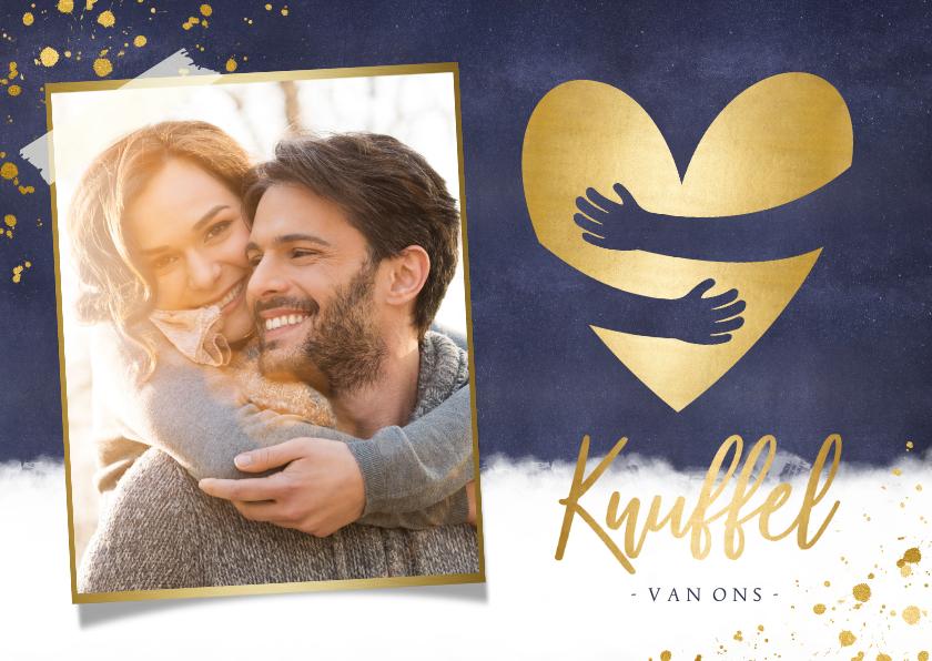 Kerstkaarten - Kerstkaart gouden hart met papieren knuffel en eigen foto