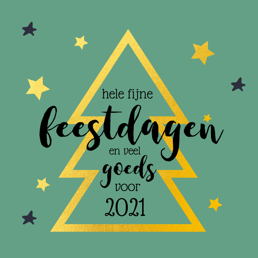 Kerstkaarten - Kerstkaart gouden kerstboom groen 2021
