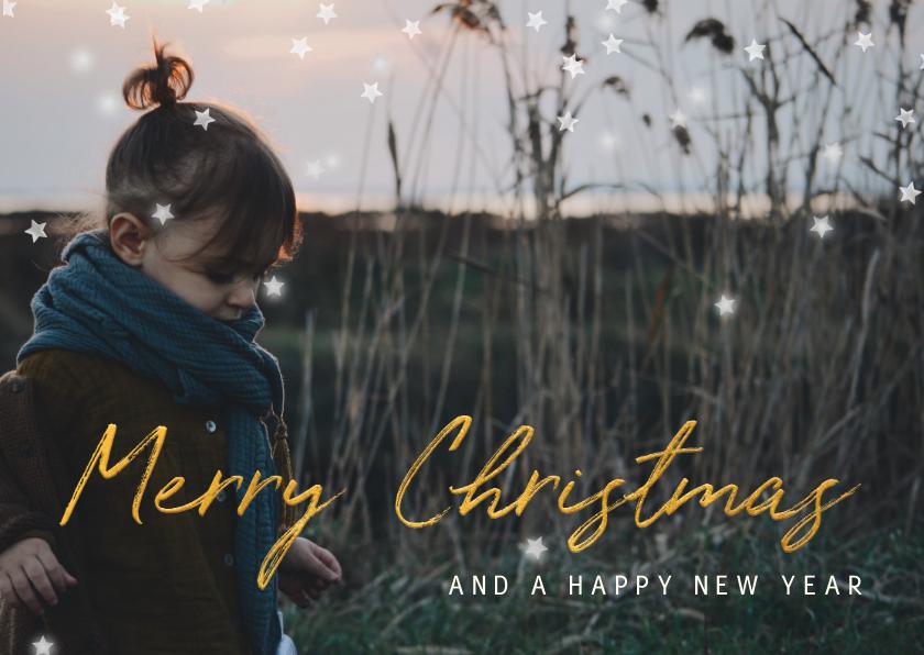 Kerstkaarten - Kerstkaart gouden 'Merry Christmas' met grote foto