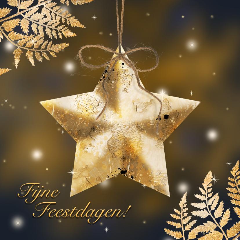 Kerstkaarten - Kerstkaart gouden ster en blad