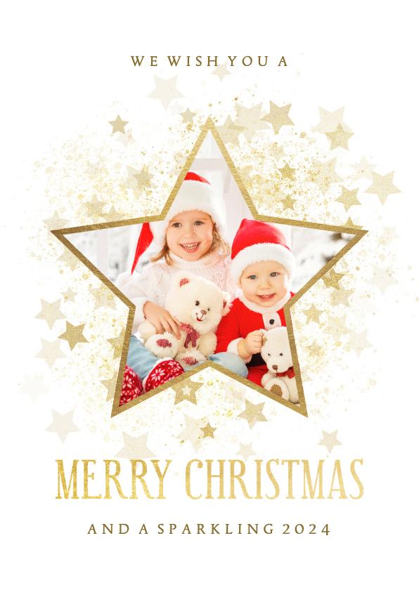 Kerstkaarten - Kerstkaart gouden ster met foto stijlvol