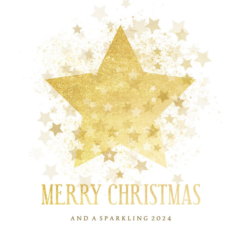Kerstkaarten - Kerstkaart gouden ster stijlvol Merry Christmas